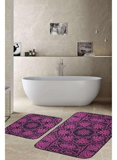 Hamur Batik 2 'li Set Banyo Paspası Kaymaz Taban Banyo Halısı Mor